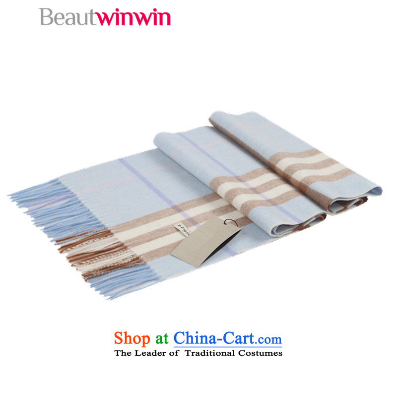 Beautwinwin autumn and winter new Western Classic Grid couples pashmina shawl female Ww-1045dg wool light blue large wire