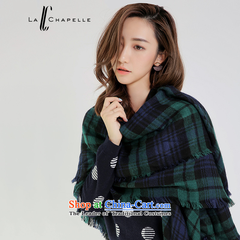 La Chapelle2015 winter new grid color mixing, short-edge leisure suit Female scarf