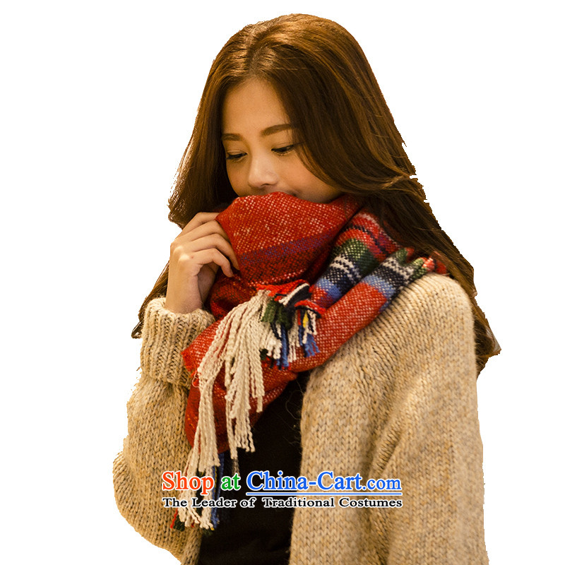 Ms. scarves shawl autumn and winter female couple thick a wild long date of dual-use grid knitting50x200cm red