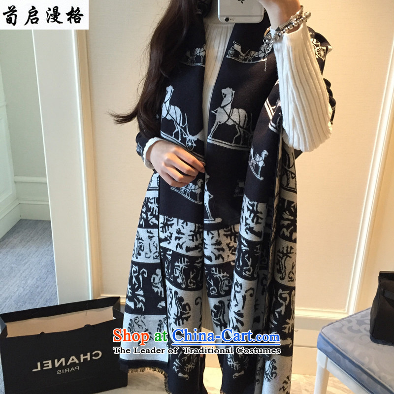 Sun Kai Man, little Car 2-sided pashmina shawl emulation two with women thick autumn warm winter XRP3305 Black and White