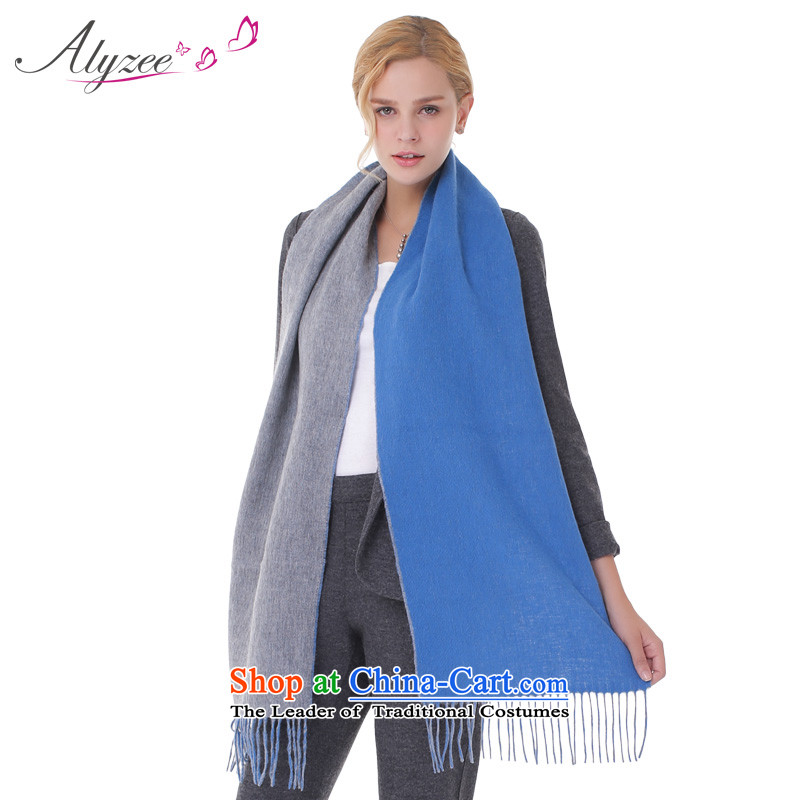 The situation of the champs pure alyzee woolen scarves autumn and winter duplex Ms. spell color woolen 2015 new stylish edging blue