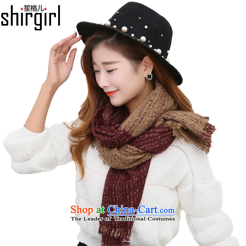 His Excellency Sandra _shirgirl Grid_ Korean circle yarn scarves knitted scarf Winter Female students long Fancy Scarf two Korean girls spell color her knitting winter bourdeaux聽55_210cm scarf