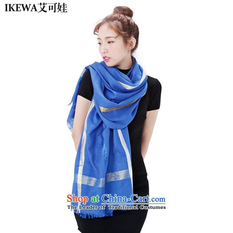 Hiv can be wa IKEWA cotton linen streaks wild silk scarf scarves, 2015 autumn and winter han bum-elegant oversized Fancy Scarf Blue