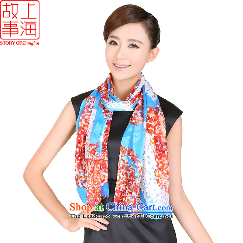 Shanghai Story stylish satin long sunscreen silk scarf beach towel encryption Women Korean style content flowing herbs extract scarf 158063 Blue