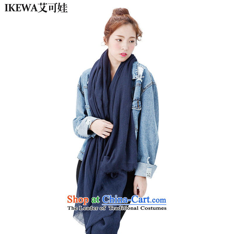Hiv can be wa IKEWA solid color silk scarf scarves, 2015 autumn and winter han bum-pixel color cotton linen oversized thick Fancy Scarf Navy