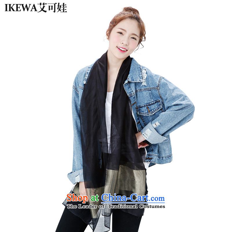 Hiv can be wa dos Santos IKEWA silk silk scarves scarves, 2015 autumn and winter pure color Phnom Penh Fancy Scarf black