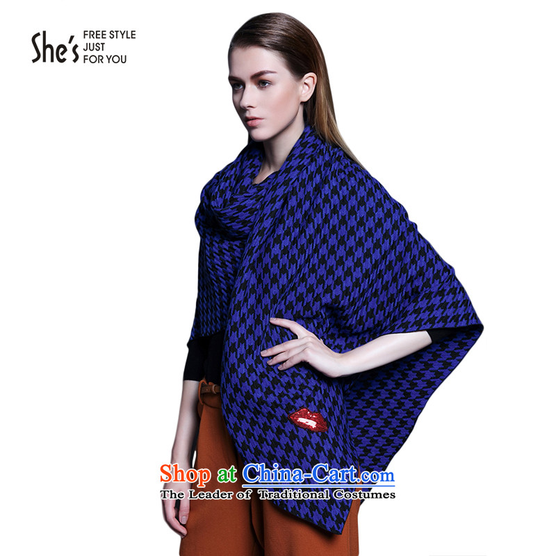 Black and White chidori she's plaid long scarves knitted warm thick shawl two with women SSP9511277 C0