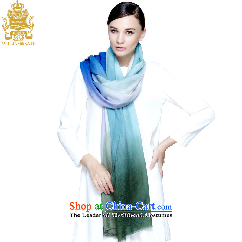 Williams & Ms. Kate WILLIAM&KATE PASHMINA 300 support multi-color gradient of the cashmere grain fields Fancy Scarf WJ35472 blue and green