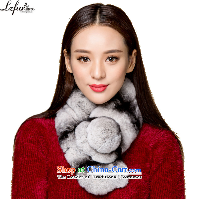 I know the process of furs and fur muffler and woolen cravat Korean fashion thick warm nagymaros ball lovely rabbit hair a female black with gray stripe