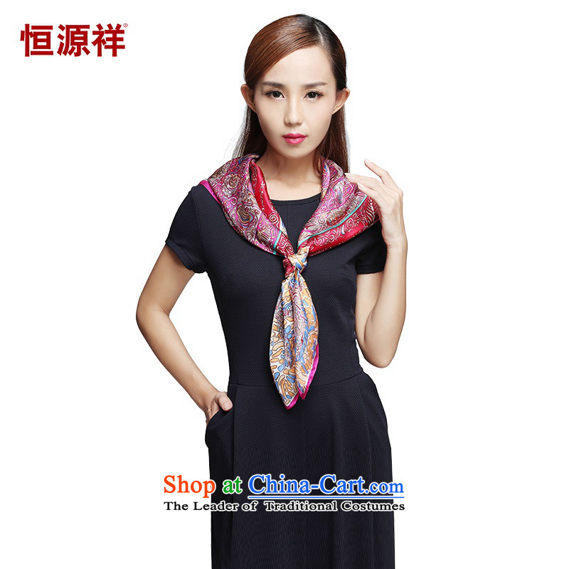 Hengyuan Cheung silk scarves baroque golden autumn shawl Ms. luxury scarvesZF056- love of Cuba85*85 Fish