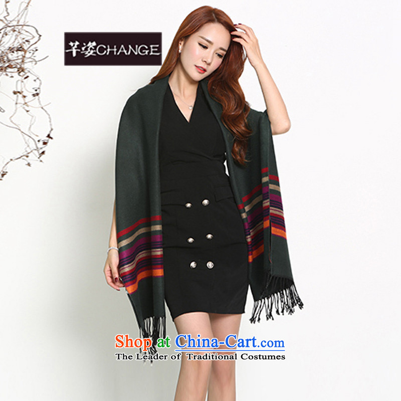 The Constitutional Position CHANGE autumn and winter, pashmina stamp streaks long thick warm shawl Korean college wind leisure wild a dark green