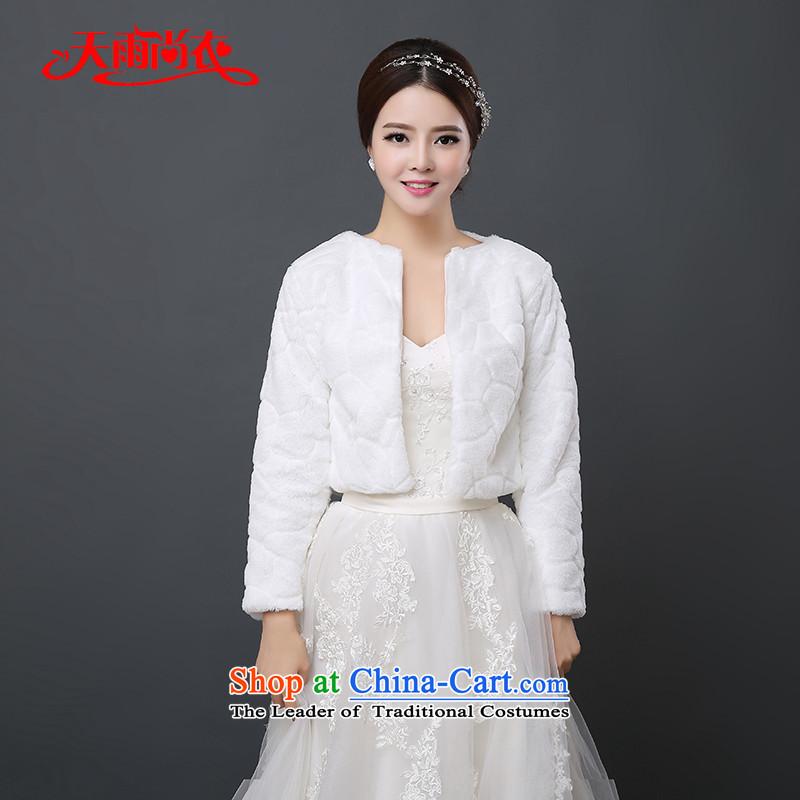 Rain-sang yi 2015 autumn and winter married new bride wedding jacket thick warm bridesmaid dress long-sleeved white short hair PJ0124 shawl