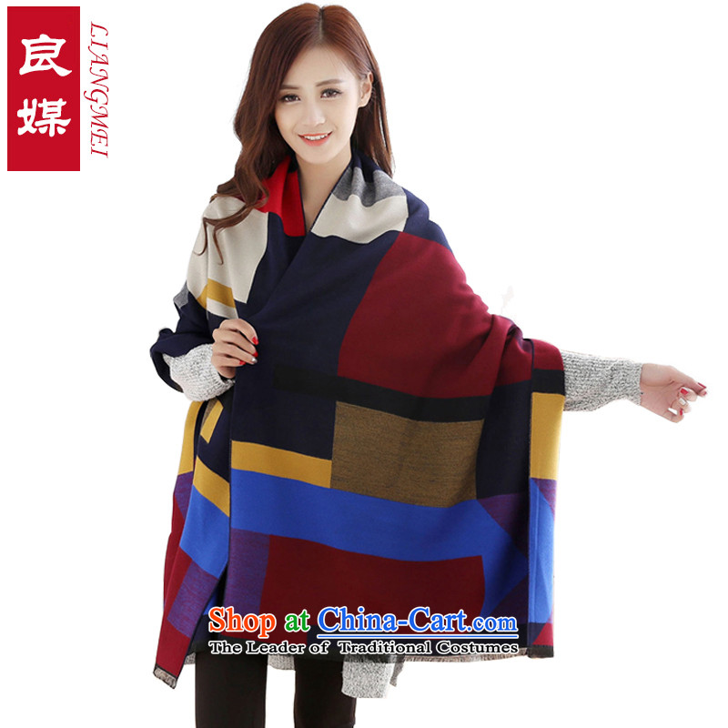 Good media scarf Korean wild shawl female autumn and winter stylish emulation cashmere thick warm scarf Navy