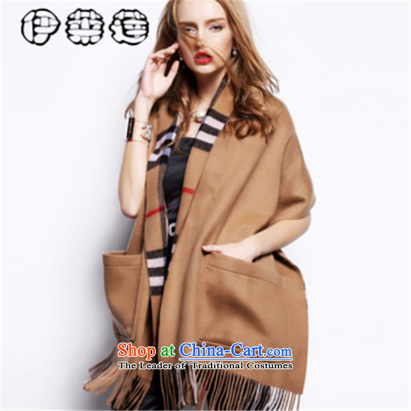 Hirlet Lin 2015 autumn and winter, Europe and double-sided big scarf classic Ms. Plaid warm independent npc shawl plush edging multipurpose pocket the chador card its color code