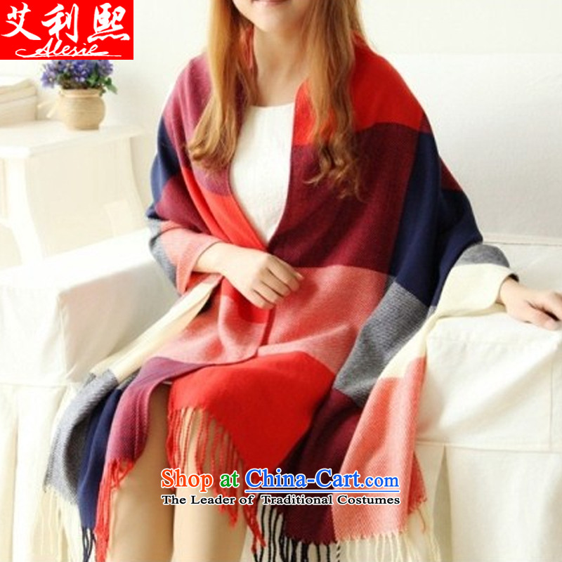 The聽 2015 Korean autumn and winter-hee female spell color grid edging pashmina shawl emulation a scarf girl autumn and winter red blue patterned are code