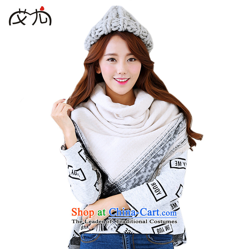 In particular, the Korean version of HIV autumn and winter new emulation cashmere Thick Border Jacquard Scarf and classy retro Fancy Scarf two with women m White