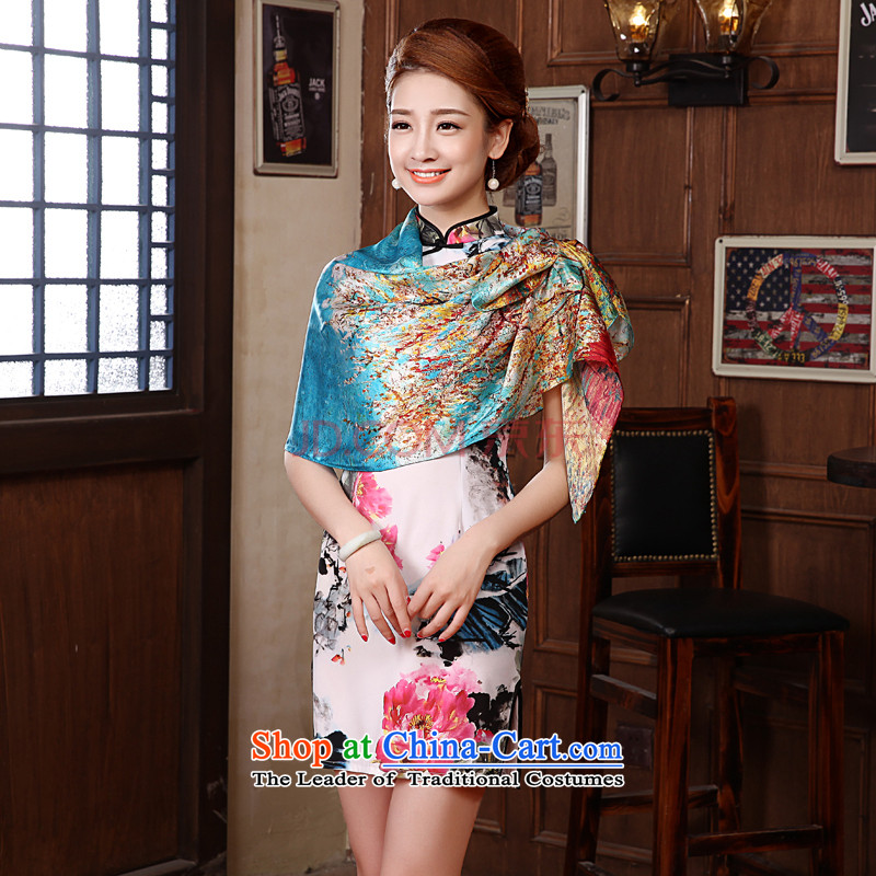 Morning herbs extract high land silk silk scarfs female spring and autumn wild Korean fashion new 2015 silk scarf of Kim to blue to the blue of the Kim