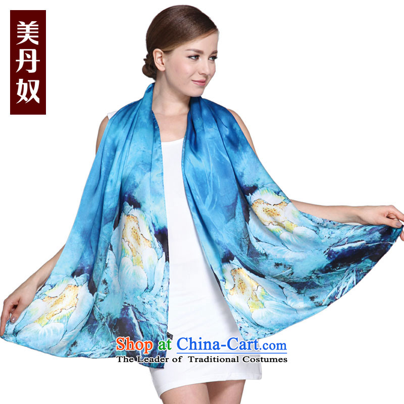 The United States House of silk scarf Dan upscale silk scarfs Chun Ms. long herbs extract air-conditioning shawl two with blue flowers