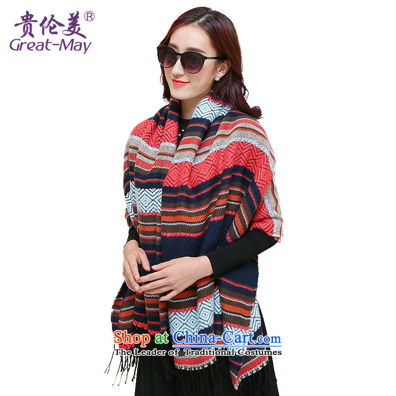 The Ms. Karen scarf of autumn and winter Korean shawl scarves with two extra long knitting Jacquard Scarf a grid WJ0120 female red orange square cloths