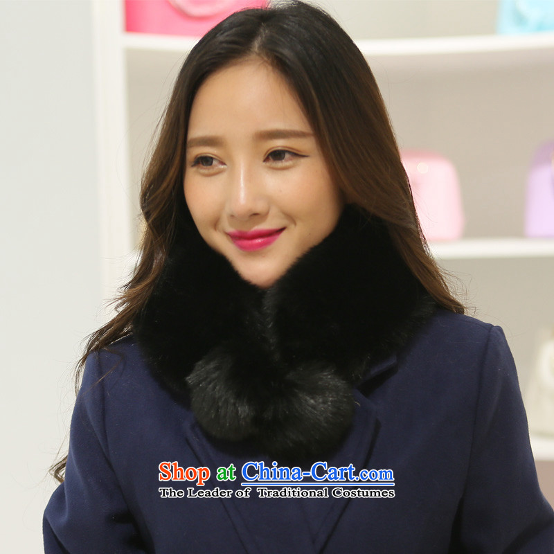 Statements were made by the beautiful woven miritalk Ms. autumn and winter Imitated leather collar up Korean grass Maomao lovely two-sided with the ball of the scarf emulation, rabbit hair warm a black