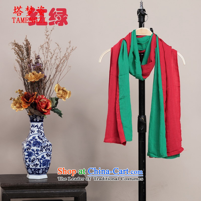 Tower of ethnic Gigi Lai Fourth Quarter Common decoration retro cotton linen spell color rectangular warm Fancy Scarf