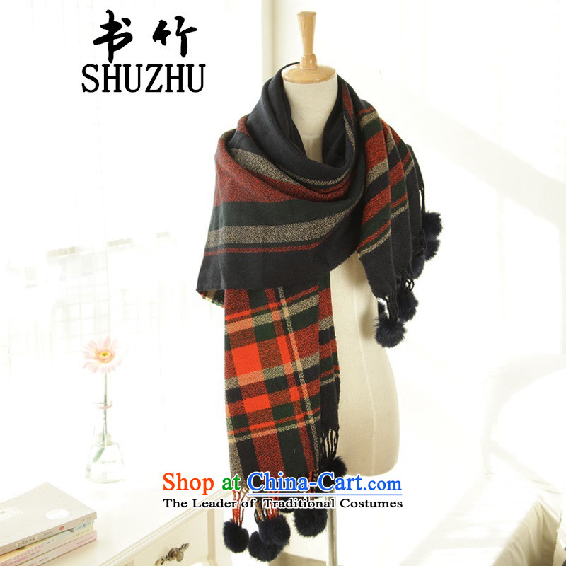The Korean version of autumn and winter, warm plaid process rabbit hair ball flow su air-conditioning with scarves shawl stretches of sweet orange - blue checkered