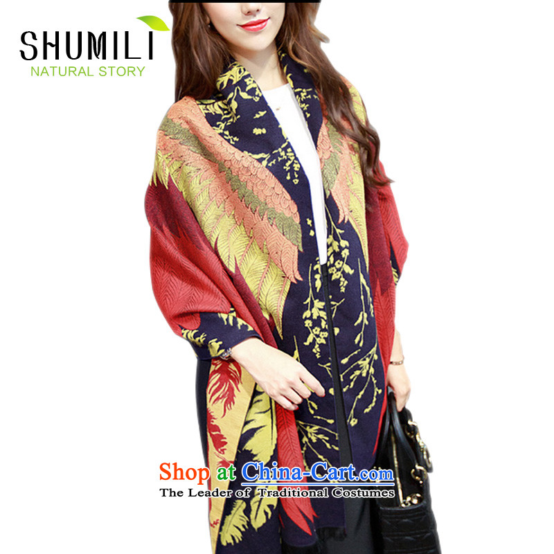 Mrs Chu Lai Pure Wool autumn and winter female increase bandwidth Phoenix ultra long thick cashmere cloak shawl scarves with two wild warm Phoenix Pattern