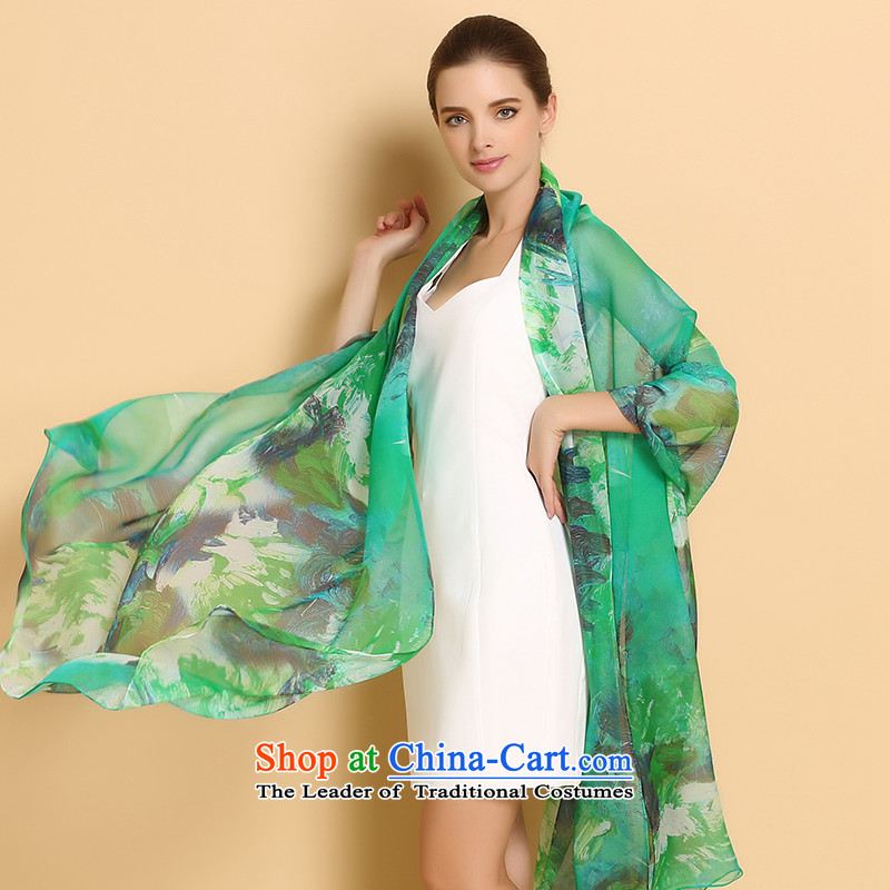 Fallay Shoka silk scarves female spring and autumn herbs extract scarf autumn and winter grade two shawls increases long masks in light green
