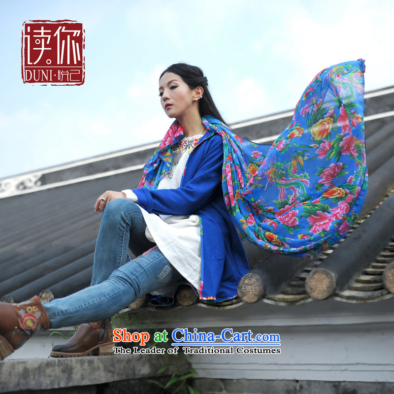 Reading your ethnic autumn and winter 2015 new products Long Fancy Scarf Two with a broken hua arts wild silk scarf female blue