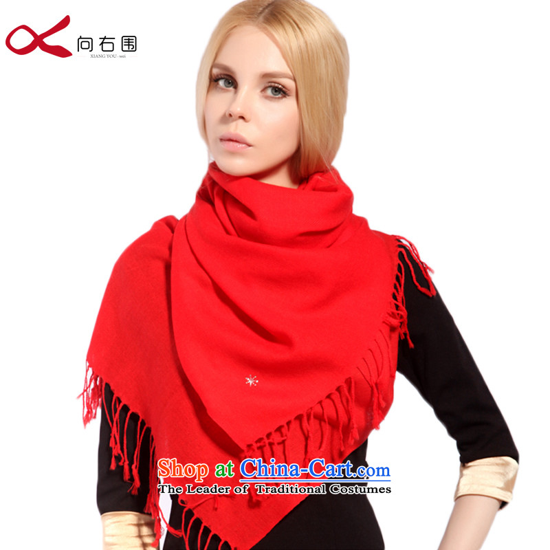 Good morning antelope wooler scarf autumn and winter warm twill diamond Fancy Scarf dual-use Chinese red - Mountain