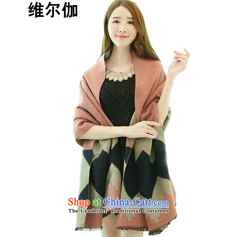 D gamma 2015 autumn and winter new Korean-long emulation cashmere diamond double-sided with two shawls scarves Ms. W8022 female and pink - Large diamond
