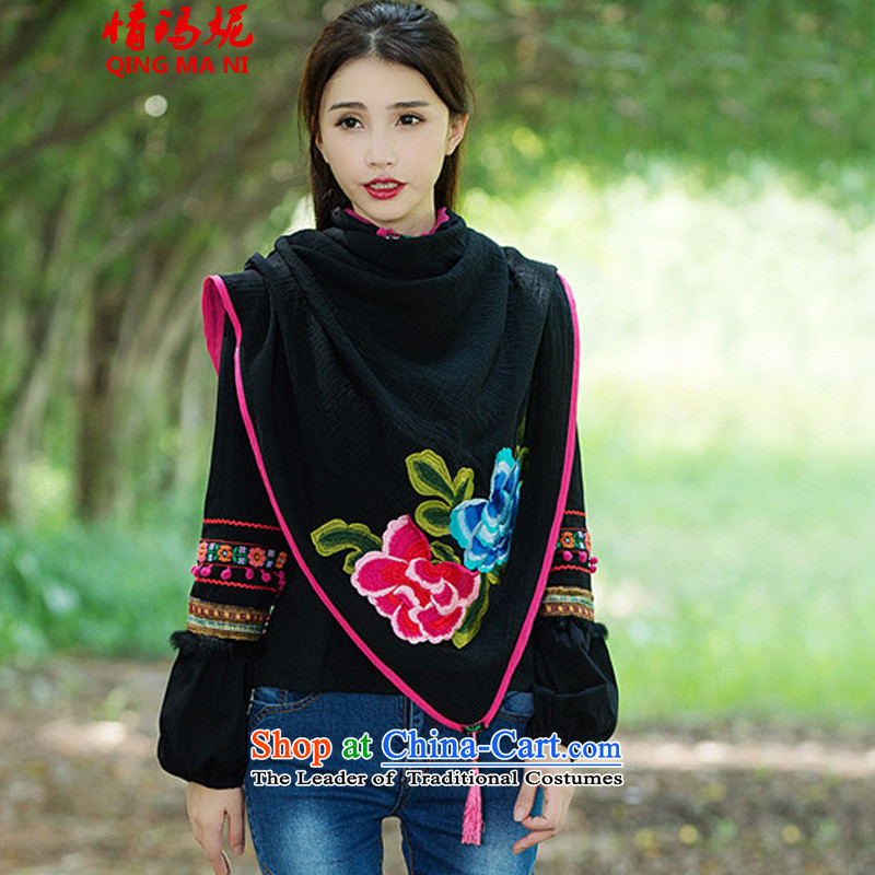 Of the 2015 New Shinta Mani ethnic wild large shawl embroidered scarf B8903# black
