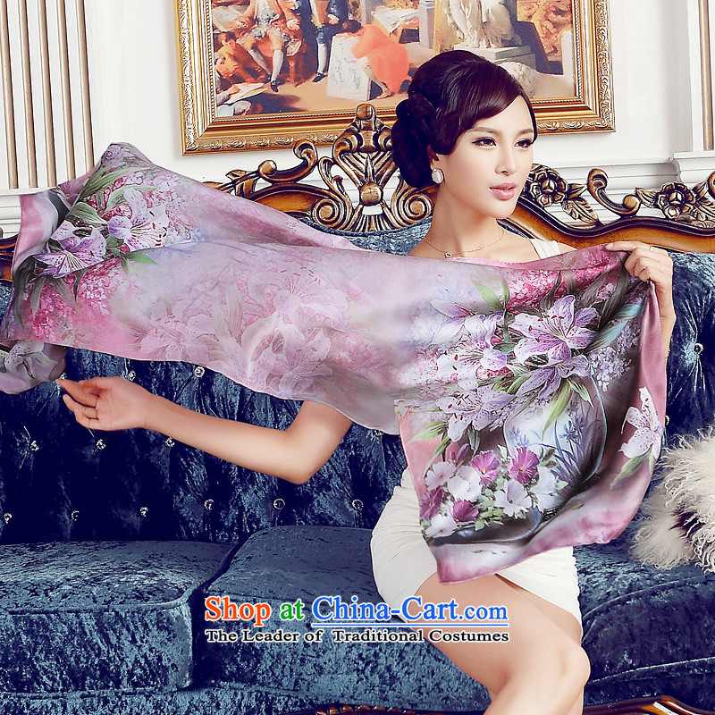 Eric blossom silk scarf sauna silk satin digital printing temperament elegant long Ms. Fancy Scarf of red, Blossom Cheung shopping on the Internet has been pressed.
