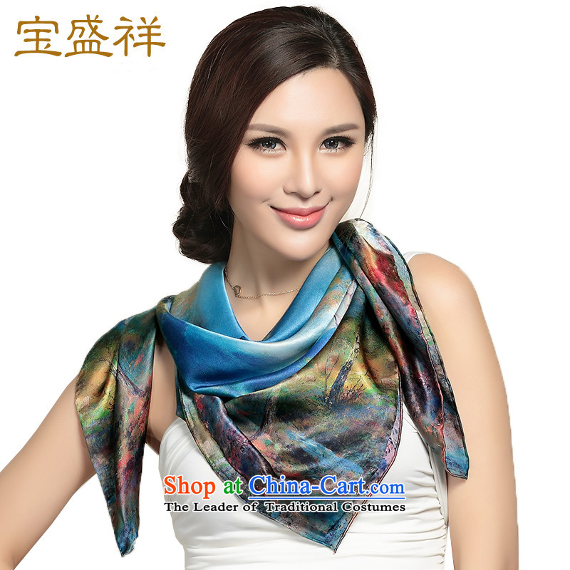 Eric blossom silk scarf herbs extract satin, classy and Ms. towel stamp shawl Fancy Scarf silk scarf sunscreen blue accents