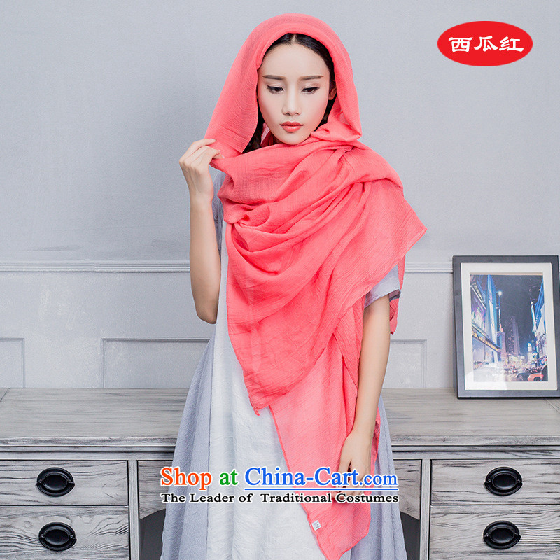 The Cloud leaf scarf cotton linen scarf2015 autumn and winter new ultra large scarf cotton linen solid color scarf creases beach towel multi-color optional scarf watermelon red