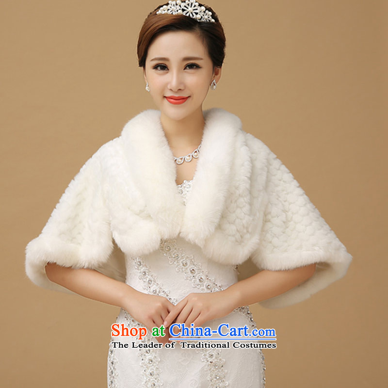 Wedding shawl qipao long-sleeved warm evening dress jacket small marriage winter bridesmaid gross shawl White