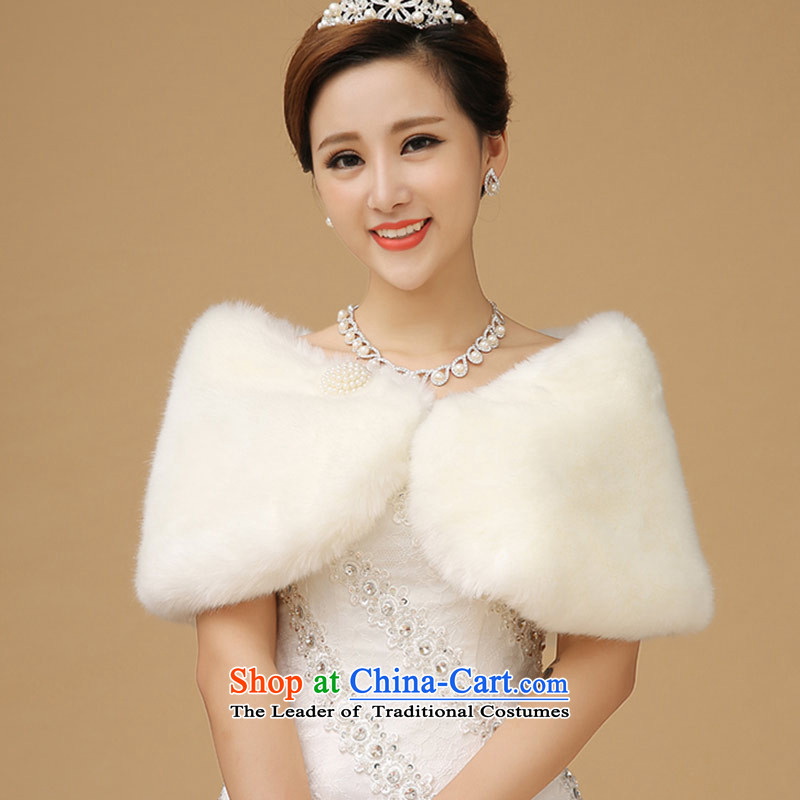 Wedding shawl qipao long-sleeved warm evening dress jacket small winter bridesmaid gross shawl White