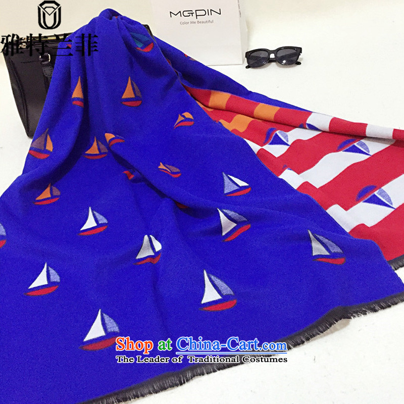 Jaath Randy 2015 Western autumn and winter big upscale emulation pashmina shawl lovely small sailboat air-conditioning blue