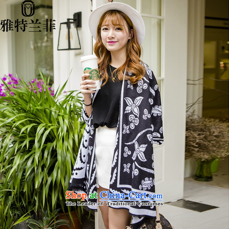 The Korean version of 2015, Cranfield autumn and winter new ethnic women scarves with extra-large air-conditioned two shawls black