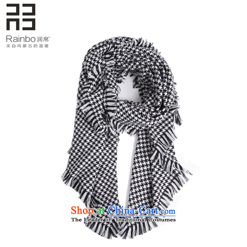 Yun long, thick 8chidori grid large shawl female western autumn warm winter Pure Wool scarf two with black and white chidori Grid