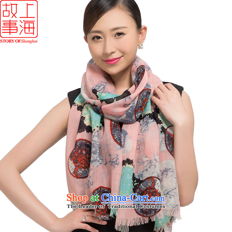 Shanghai Story聽2015 new stamp Ms. scarves wool warm winter long shawl classical style 178014 Pink