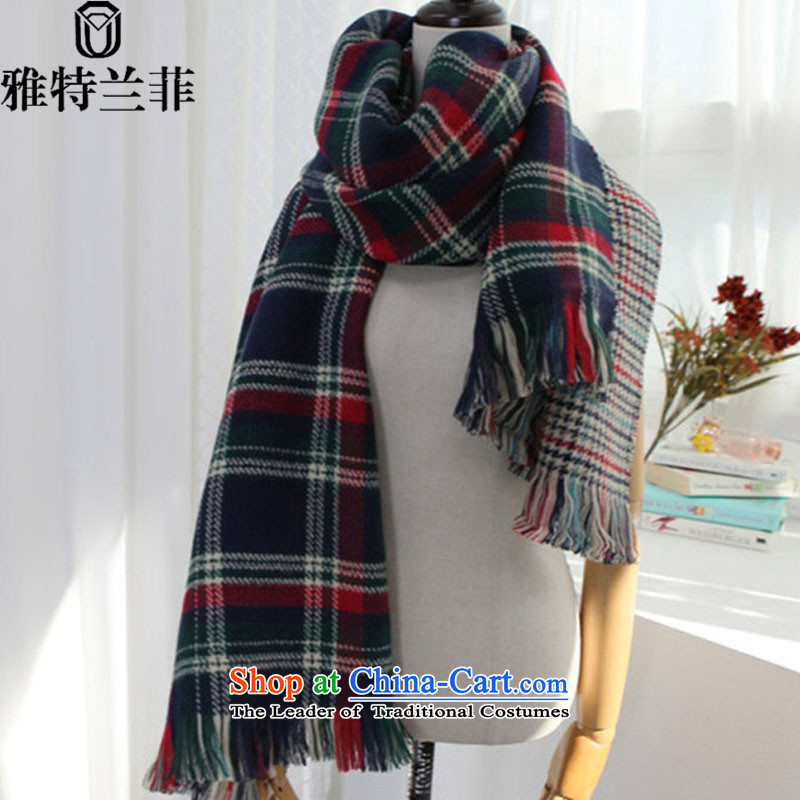 The 2015 autumn and winter, Cranfield duplex latticed new ultra long warm emulation _pashmina shawl two couples with thick chidori of large scarf of silence blue
