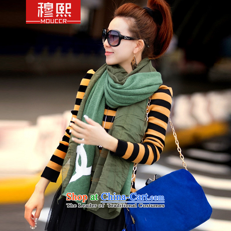 Mok-hee ofwinter clothing 2015 new Korean stylish and elegant small wind light color knitting incense spell snow spinning extralong) thick scarf3472ndgreen