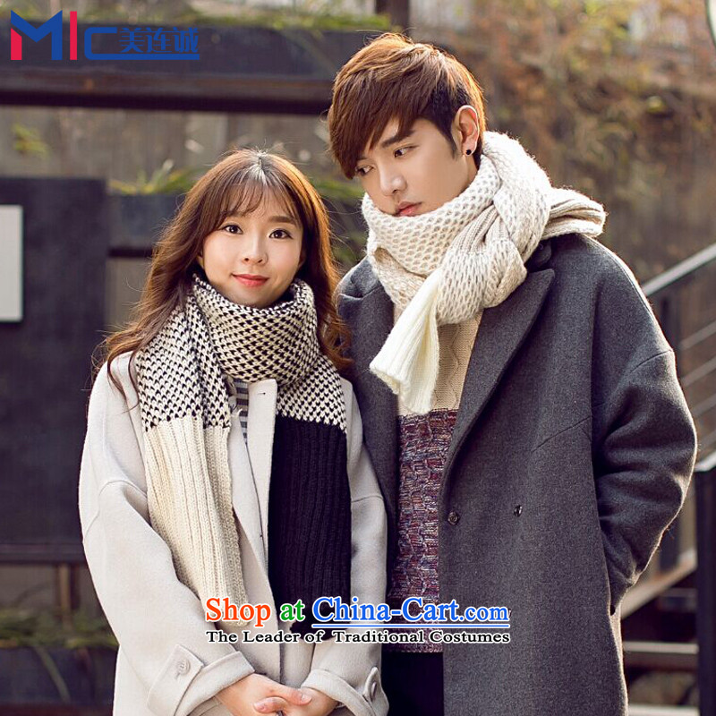 Mei Lin Shing 2015 Korean wild scarf of autumn and winter new students of both sexes knitting knitting spell color Thick Long couples a warm m Black