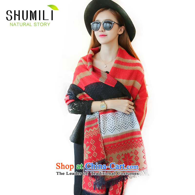 Mrs Carrie Yau, Ms. Mimi scarves knitted woolen scarves winter twist knitting shawl large red