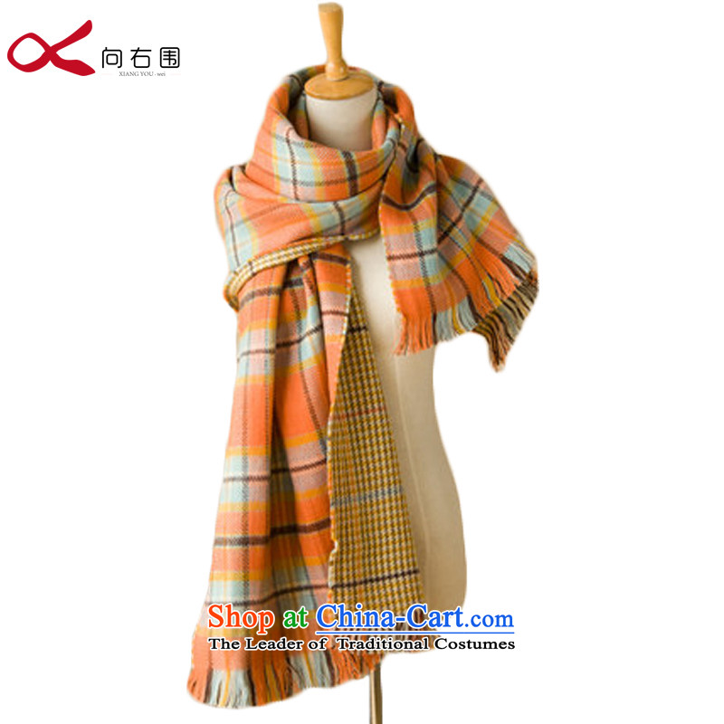 To the right of the Korean version of the stylish thick double knit Plaid Chidori-top shawl fighting Scarf - blue and yellow, looking for