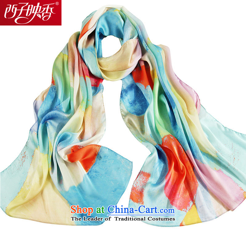 Hsitzu Hong silk scarf female new spring and autumn air-conditioned long female scarves women cape beach towel yuhua stone blue