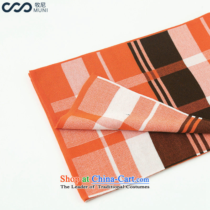 _a_ The 2015 autumn and winter MUNI new scarf female wool Fancy Scarf two plaid orange