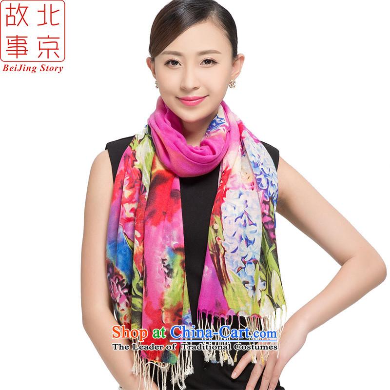 Beijing2015 new story wool stamp scarves, warm winter long shawl hyacinths 178011 in Purple