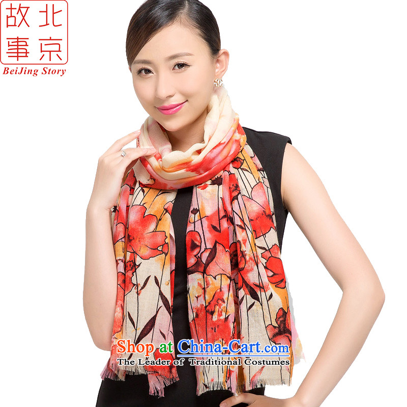 Beijing2015 new story wool stamp scarves, warm winter long before the shawl 178013 Red